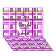Purple Plaid Pattern Ribbon 3d Greeting Card (7x5)