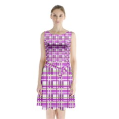 Purple Plaid Pattern Sleeveless Chiffon Waist Tie Dress