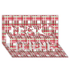 Red Plaid Pattern Best Friends 3d Greeting Card (8x4)