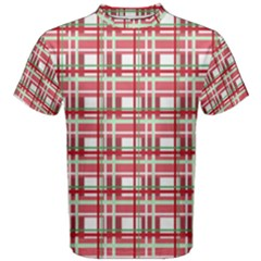 Red Plaid Pattern Men s Cotton Tee by Valentinaart
