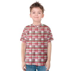 Red Plaid Pattern Kids  Cotton Tee by Valentinaart