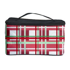 Red Plaid Pattern Cosmetic Storage Case by Valentinaart