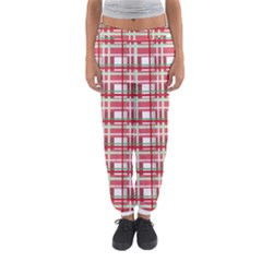 Red Plaid Pattern Women s Jogger Sweatpants by Valentinaart