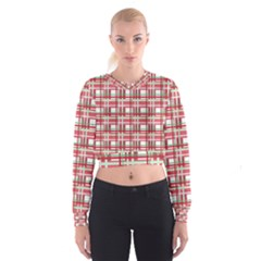 Red Plaid Pattern Women s Cropped Sweatshirt by Valentinaart