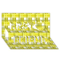 Yellow Plaid Pattern Best Friends 3d Greeting Card (8x4) by Valentinaart