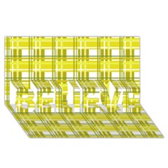 Yellow Plaid Pattern Believe 3d Greeting Card (8x4) by Valentinaart