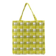Yellow Plaid Pattern Grocery Tote Bag by Valentinaart