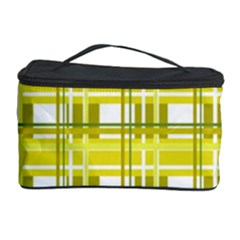 Yellow Plaid Pattern Cosmetic Storage Case by Valentinaart
