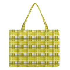 Yellow Plaid Pattern Medium Tote Bag by Valentinaart