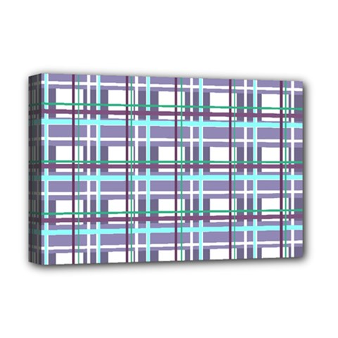 Decorative Plaid Pattern Deluxe Canvas 18  X 12   by Valentinaart
