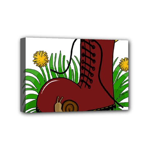 Boot In The Grass Mini Canvas 6  X 4  by Valentinaart
