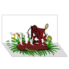 Boot In The Grass Hugs 3d Greeting Card (8x4)