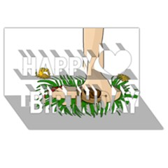 Barefoot In The Grass Happy Birthday 3d Greeting Card (8x4) by Valentinaart