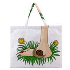 Barefoot In The Grass Zipper Large Tote Bag by Valentinaart