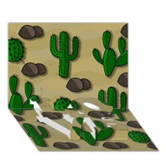 Cactuses Love Bottom 3d Greeting Card (7x5) by Valentinaart