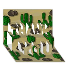 Cactuses Thank You 3d Greeting Card (7x5) by Valentinaart