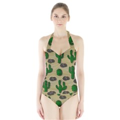 Cactuses Halter Swimsuit by Valentinaart