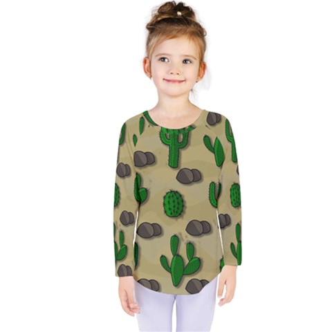 Cactuses Kids  Long Sleeve Tee by Valentinaart