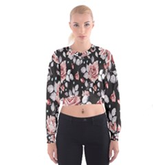 Vintage Flower  Women s Cropped Sweatshirt by Brittlevirginclothing