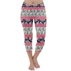 Cute Flower Pattern Capri Winter Leggings  by Brittlevirginclothing