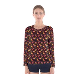 Exotic Colorful Flower Pattern  Women s Long Sleeve Tee by Brittlevirginclothing