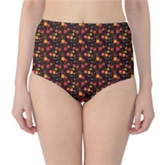 Exotic Colorful Flower Pattern  High-waist Bikini Bottoms by Brittlevirginclothing