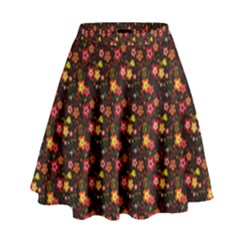 Exotic Colorful Flower Pattern  High Waist Skirt by Brittlevirginclothing