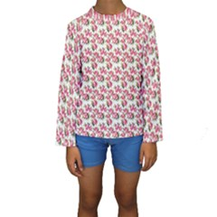Gorgeous Pink Flower Pattern Kids  Long Sleeve Swimwear by Brittlevirginclothing