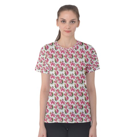 Gorgeous Pink Flower Pattern Women s Cotton Tee by Brittlevirginclothing