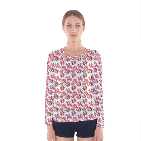 Gorgeous Pink Flower Pattern Women s Long Sleeve Tee by Brittlevirginclothing