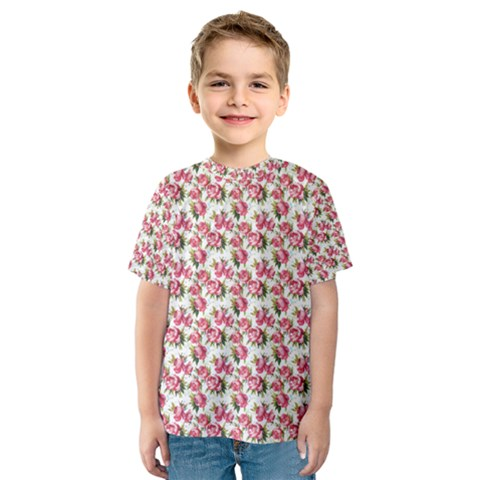 Gorgeous Pink Flower Pattern Kids  Sport Mesh Tee by Brittlevirginclothing