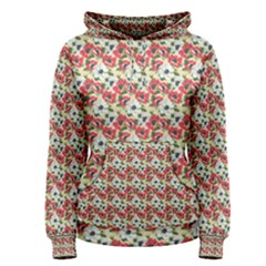 Gorgeous Red Flower Pattern  Women s Pullover Hoodie by Brittlevirginclothing