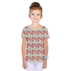 Gorgeous Red Flower Pattern  Kids  One Piece Tee by Brittlevirginclothing