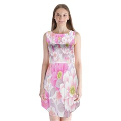 Cute Pink Flower Pattern  Sleeveless Chiffon Dress   by Brittlevirginclothing
