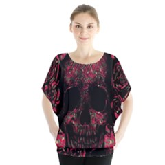 Vintage Pink Flowered Skull Pattern  Blouse by Brittlevirginclothing