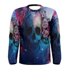 Colorful Space Skull Pattern Men s Long Sleeve Tee by Brittlevirginclothing