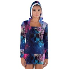 Colorful Space Skull Pattern Women s Long Sleeve Hooded T-shirt by Brittlevirginclothing