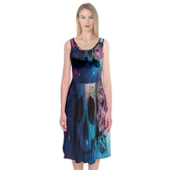 Colorful Space Skull Pattern Midi Sleeveless Dress by Brittlevirginclothing