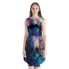 Colorful Space Skull Pattern Sleeveless Chiffon Dress