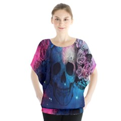Colorful Space Skull Pattern Blouse by Brittlevirginclothing