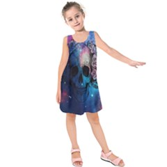 Colorful Space Skull Pattern Kids  Sleeveless Dress by Brittlevirginclothing
