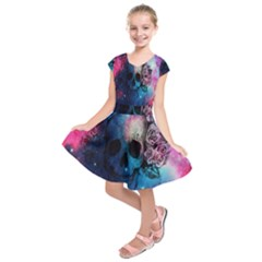 Colorful Space Skull Pattern Kids  Short Sleeve Dress by Brittlevirginclothing