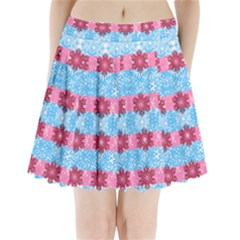 Pink Snowflakes Pattern Pleated Mini Skirt