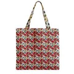 Gorgeous Red Flower Pattern  Zipper Grocery Tote Bag by Brittlevirginclothing