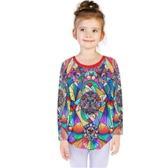 Blue Ray Transcendance Grid   Kids  Long Sleeve Tee by tealswan