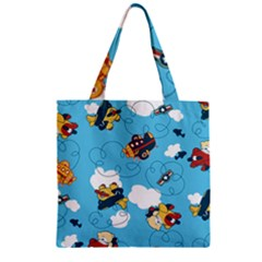 Bear Aircraft Zipper Grocery Tote Bag by AnjaniArt