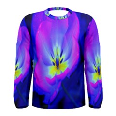 Blue And Purple Flowers Men s Long Sleeve Tee by AnjaniArt