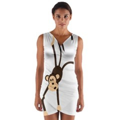 Colorful Animal Monkey Wrap Front Bodycon Dress by AnjaniArt