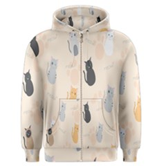 Cute Cat Meow Animals Men s Zipper Hoodie by AnjaniArt
