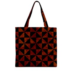 Triangle1 Black Marble & Brown Marble Zipper Grocery Tote Bag by trendistuff